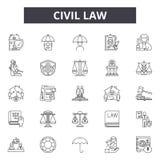 Civil law line icons, signs, vector set, outline illustration concept. Civil law line icons, signs, vector set, outline concept illustration royalty free illustration
