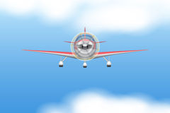 Civil Light Aircraft. Front view of Civil Light Aircraft in sky and clouds.. Vector Illustration  on background Stock Image