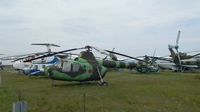 Civil and military aircraft, helicopters. In detail stock video footage