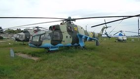 Civil and military aircraft, helicopters. In detail stock footage