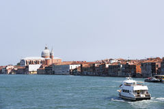 Civil passenger boat at the channel  in summer Venice Stock Image