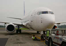 A civil plane docking at Jogja airport in Indonesia.  Stock Image