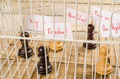 Civil rights concept. Imprisoned pawns staging a demostration, a civil and social rights concept Royalty Free Stock Photos