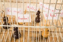 Civil rights concept. Imprisoned pawns staging a demostration, a civil and social rights concept Royalty Free Stock Images