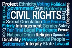 Civil Rights Word Cloud. On Blue Background royalty free illustration