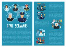 Vector civil servants judge police aviation poster. Civil servants of medicine, aviation or law and fire extinguishing. Firefighter man, judge or policeman and Stock Photo