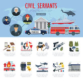 Vector poster civil servants judge police aviation. Civil servants poster or infographics. Vector firefighter, judge or policeman and pilot profession, fire Royalty Free Stock Image