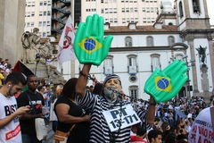 Civil servants' strike in Rio de Janeiro. Rio de Janeiro, Brazil, 17 March 2016: With the worsening of the economic crisis affecting the State Government of Rio Royalty Free Stock Images