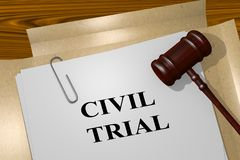CIVIL TRIAL concept. 3D illustration of CIVIL TRIAL title on legal document royalty free illustration