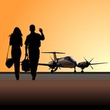 Civil utility aircraft at aerodrome Stock Photography