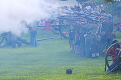 Civil war. Galesburg, IL - August 16th: Civil war reenactment Battle of Antietam August 16th, 2009 in Galesburg, IL Stock Photos