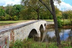 Civil War Bridge. Across Antietam creek in Sharpsburg Maryland. The site of General Burnside attack on Confederate soldiers Stock Photo