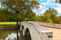 Civil War Bridge in Maryland. This is Burnside`s Bridge in Antietam Maryland. It was the sight of a major Civil War battle. The bridge is recently refurbished royalty free stock images