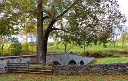 Civil War Bridge in Maryland. This is Burnside`s Bridge in Antietam Maryland. It was the sight of a major Civil War battle. The bridge is recently refurbished stock photos