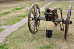 Civil War Cannon. At Old Fort Jackson royalty free stock photos