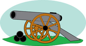 Civil War Cannon. An old cannon and cannonballs from the Civil War Royalty Free Stock Photography
