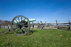 Civil War Cannon In Battlefield With Fence Stock Image