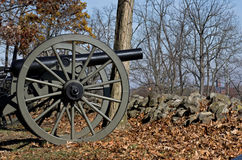 Civil War Cannon Behind Stone Wall Stock Images