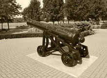 Civil war cannon black and white Stock Image