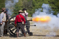 Civil War Cannon Firing Royalty Free Stock Photos