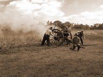 Civil War Cannon Firing Royalty Free Stock Photos