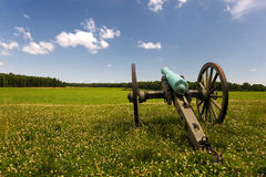 Civil War cannon in green field Stock Photo