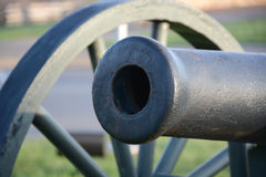 Civil war cannon. A civil war cannon stands silent. Now guarding the park that stands where the fort once was.close up of the barrel stock photography