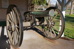 Civil War Cannon Steilacoom Washington. Historic Civil War Cannon at U.S. Army Fort Nisqually museum in Steilacoom, Washington royalty free stock photos