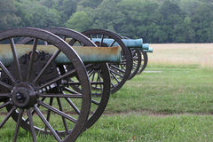Civil War Cannons. A line of cannons at the Chickamunga - Chattanooga National Military Park Stock Photo