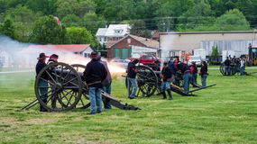Free Civil War Cannons Firing At Battle Of Buchanan Royalty Free Stock Image - 70755466