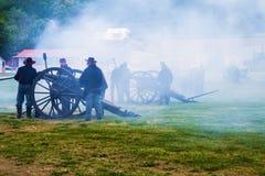 Civil War Cannons Firing at Battle of Buchanan Royalty Free Stock Photography