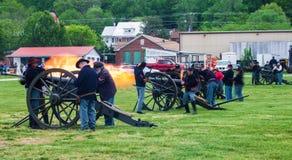 Civil War Cannons Firing at Battle of Buchanan Stock Photos