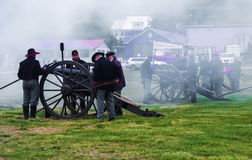 Civil War Cannons Firing at Battle of Buchanan Stock Photos