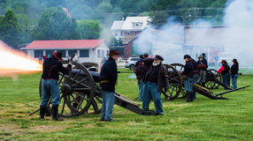 Civil War Cannons Firing at the Battle of Buchanan Royalty Free Stock Photography