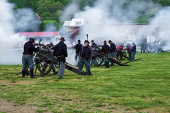 Civil War Cannons Firing at Battle of Buchanan Royalty Free Stock Image