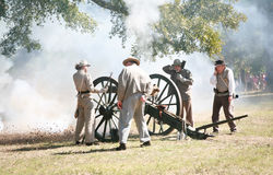 Civil War Canon Fire. Fall Muster at Beauvior, the Jefferson Davis House (confederate White House), in Biloxi, Mississippi. Annual Civil War battle reenactment Royalty Free Stock Images