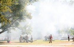 Civil War Canon Fire. Fall Muster at Beauvior, the Jefferson Davis House (confederate White House), in Biloxi, Mississippi. Annual Civil War battle reenactment Stock Photo