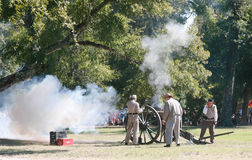Civil War Canon Fire. Fall Muster at Beauvior, the Jefferson Davis House (confederate White House), in Biloxi, Mississippi. Annual Civil War battle reenactment Royalty Free Stock Photography