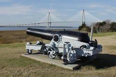 Civil War canon, modern bridge Stock Image