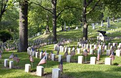 Civil War Cemetery with Flags. Area of Woodland Cemetery, Dayton, Ohio that honors soldiers of Civil war, 1861-1865. The cemetery is one of USAs five oldest Royalty Free Stock Photography