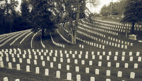 Civil War Cemetery Louisville Kentucky. Cave Hill Cemetery with white gravestones of civil war soldiers stock photo