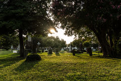 Civil War Cemetery Tombstones at Dusk Stock Images