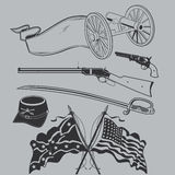 Civil War Clip Art Collection. Civil War artwork collection featuring weapons and flags Stock Image