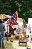 A Civil War Confederate camp. Stock Image