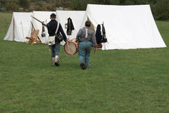 Civil War Drummer Boy. These two boys are part of a Civil War Reenactment Stock Photography