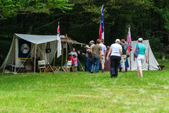 Civil War Encampment – Blue Ridge Parkway, Virginia, USA. Bedford County, VA – June 14th: Civil War encampment by Abbott Lake at the Peaks of Otter on the Stock Image