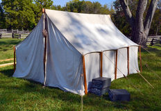 Civil War encampment. An American Civil War reenactor's tent stands on the grounds of Pea Ridge National Military Park in northwest Arkansas Royalty Free Stock Photography