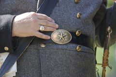 Civil war era buckle and part of uniform. Royalty Free Stock Photo