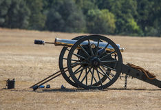 Civil War era Cannon. Civil War era soldiers after the battle at the Hawes Farm reenactment in Red Bluff, California stock images