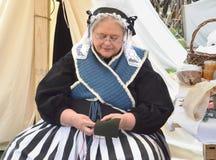 Civil-war era reenactor sewing Stock Photography